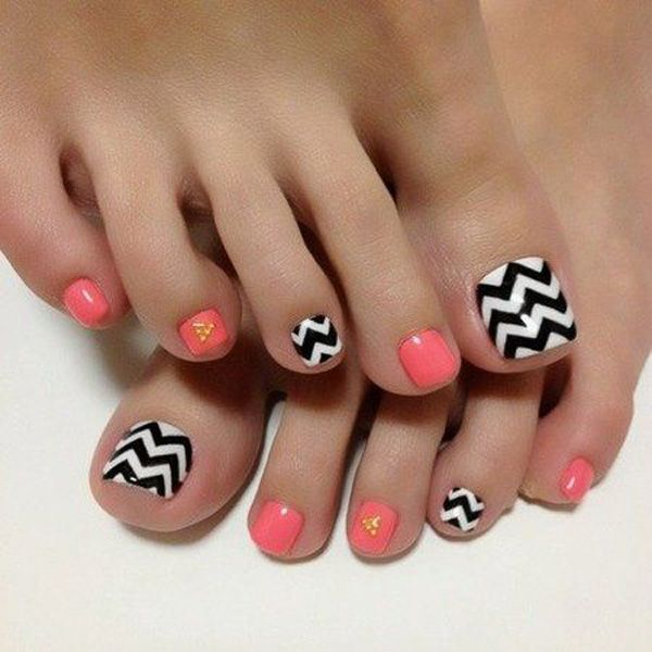 A simple but classic looking toenail art design. Make use of melon, black and white polish to create this design. The melon and white polish are painted alternately as base while thick zigzag lines are added on top of the white base. Additional yellow beads are placed on top of the melon polished nails.