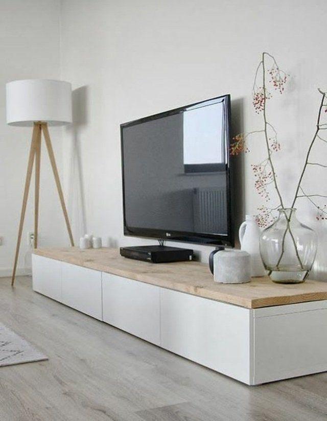 meuble en bois tv plante lampe design idée parquet salon tapis de sol télévision meuble en bois ikea