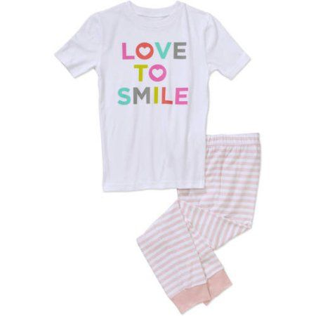 Girls' Love to Smile Short Sleeve Shirt and Pants Sleepwear Set, Size: 14/16, Pink