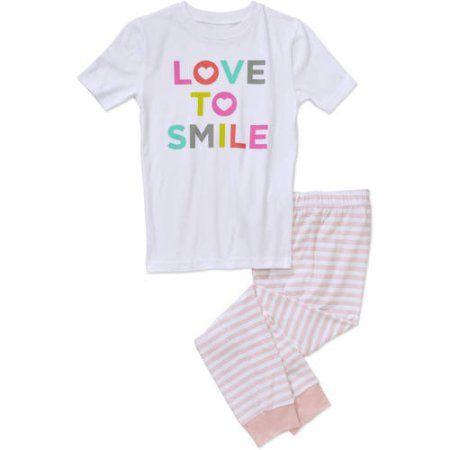 Girls' Love to Smile Short Sleeve Shirt and Pants Sleepwear Set, Size: 14/16, Pink