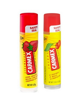 """Carmex..I use this every single day (cherry or strawberry only), I go crazy if I can't find it..my boyfriend calls it my """"crack stick""""..I can't stand dry lips and dry skin..it's so bad that my boyfriend put 10 in my stocking last Christmas and they were all gone by April.."""