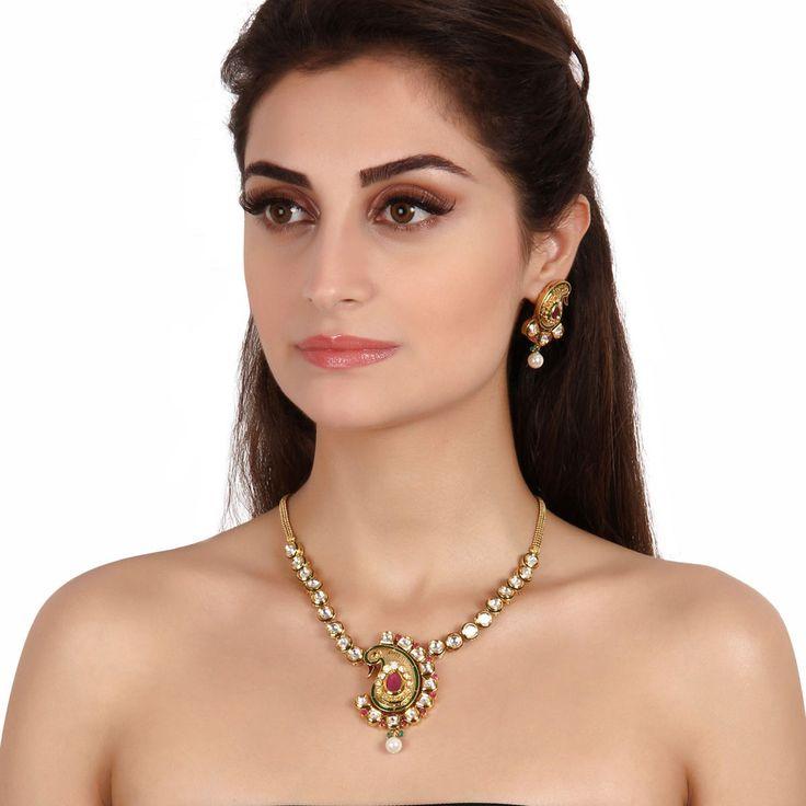 Kundan Necklace ACN148 #Kushals #Jewellery #Fashion #Indian #Jewellery #Necklace #Earrings #Designer #Fashion #choker #chain #Kundan