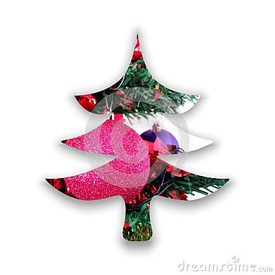 #Christmas #tree form decorated inside with two #globes and abstract green #ornaments, on white background