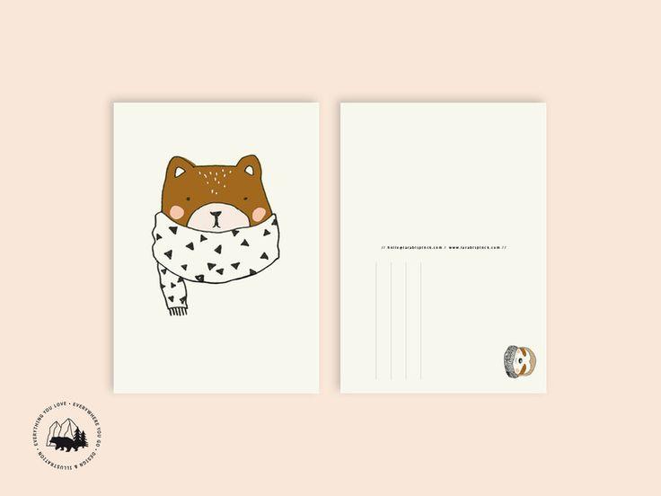 Sommer - Bär   Postkarte - ein Designerstück von everywhereyougo bei DaWanda