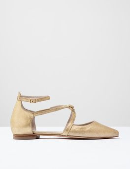Soft Gold Metallic Strappy Bow Point Boden