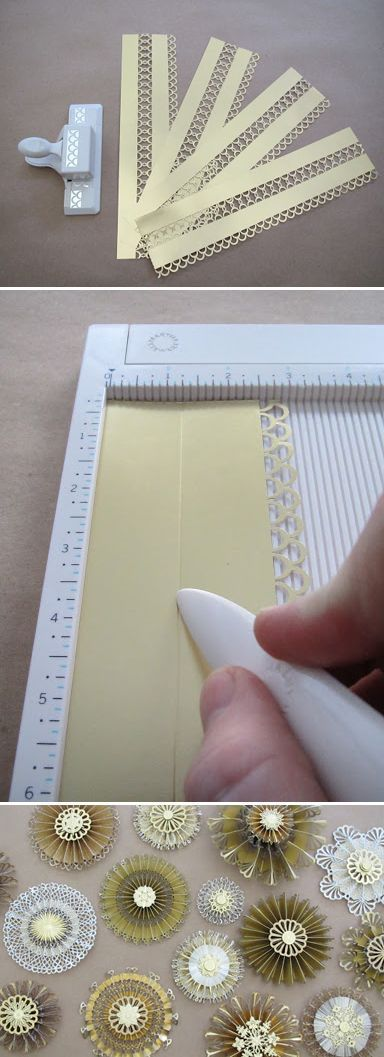 Punching in the center of a paper border (and making Paper Medallions) - tutorial by Jim Noonan http://thecraftsdept.marthastewart.com/2010/12/paper-medallions.html: