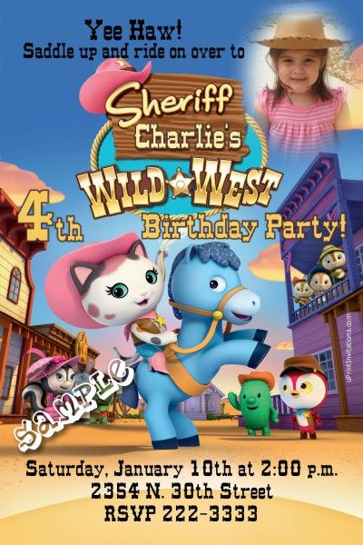 Sheriff Callie Birthday Invitations - Get these invitations RIGHT NOW. Design yourself online, download and print IMMEDIATELY! Or choose my printing services. No software download is required. Free to try!