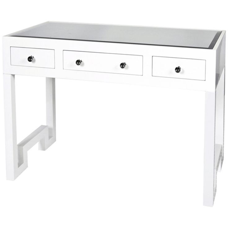 Worlds Away White Lacquer 3 Drawer Desk Reece Wh Desk