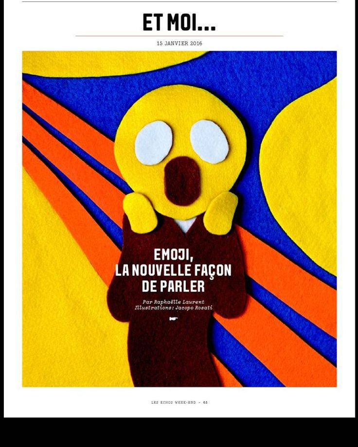 """""""#Emoji, la nouvelle façon de parler"""" : un dossier signé Raphaëlle Laurent demain dans #lesechosweekend Illustrations : @jacopo.rosati  @alicelagarde #ceciletexeraud @graph_paris"""