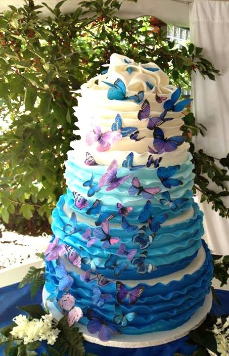 Beautiful Ombre Cake Ideas For All Occasions - Blue and Purple butterfly tier cake made by Carey's Cakery & Bake Shop | http://www.sassydealz.com/2014/01/beautiful-ombre-cake-ideas-for-all.html