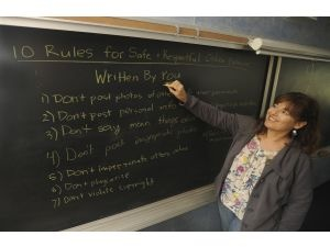 Article Tab: Diana Graber lists the 10 Rules for Safe and Respectful Online Behavior her Information Literacy students came up with. She teaches the class at Journey School in Aliso Viejo. Kids going into eighth grade have grown up saturated with digital media, she said.
