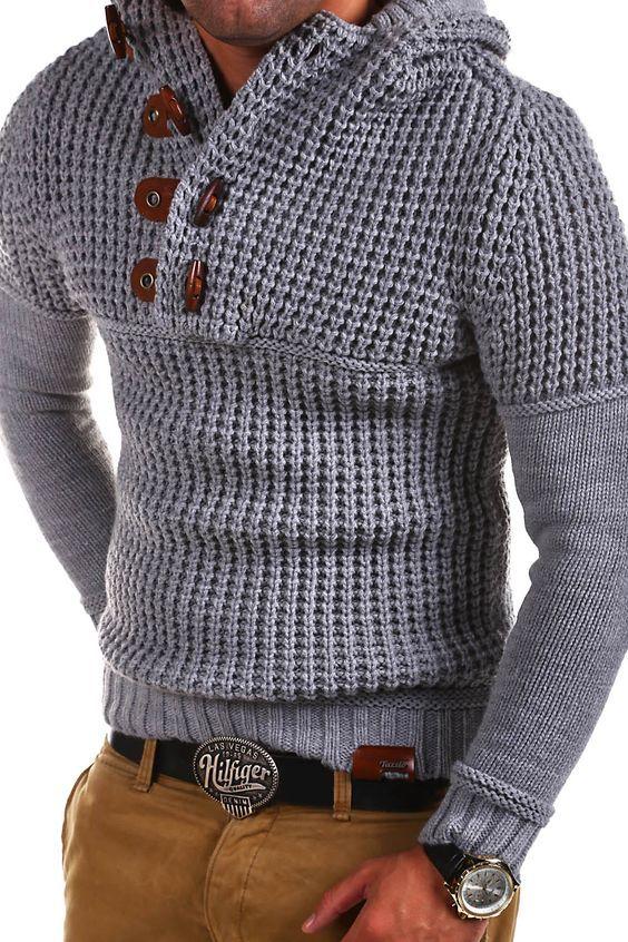 TAZZIO Strick-Pullover Hoodie Grobstrick Troyer Strickjacke Dunkelgrau/Grau NEU