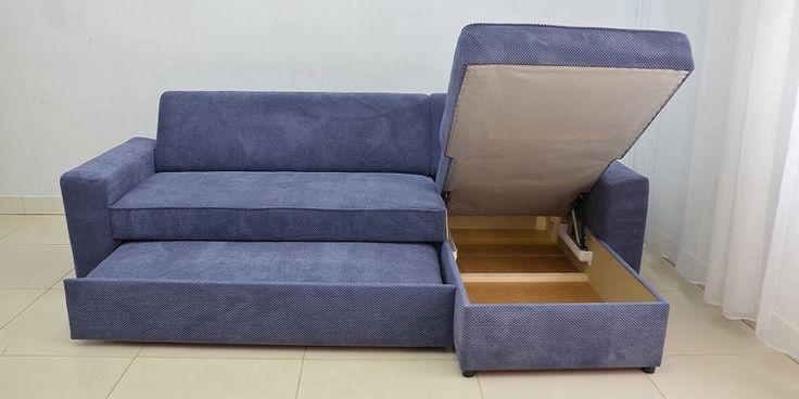 Navy Blue Corner Sofa Bed