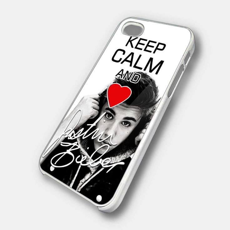 keep calm and love justin bieber - iPhone 4 Case, iPhone 4s Case and iPhone 5 case Hard Plastic Case