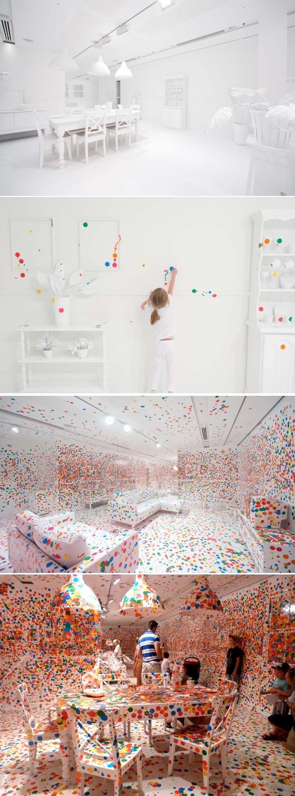 One white room and a lot of kids with a lot of stickers. A great installation of Yayoi Kusuma to show art isn't boring at all...