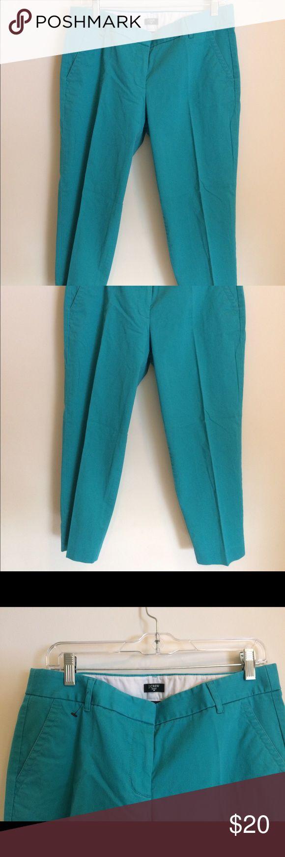 """J Crew women's Capri pants size 10 teal J. Crew women's stretch Capri Cropped pants. Teal. City fit. Size 10. Waist measures 16"""" across lying flat. Cotton/spandex blend. Excellent condition worn once. J. Crew Pants Capris"""