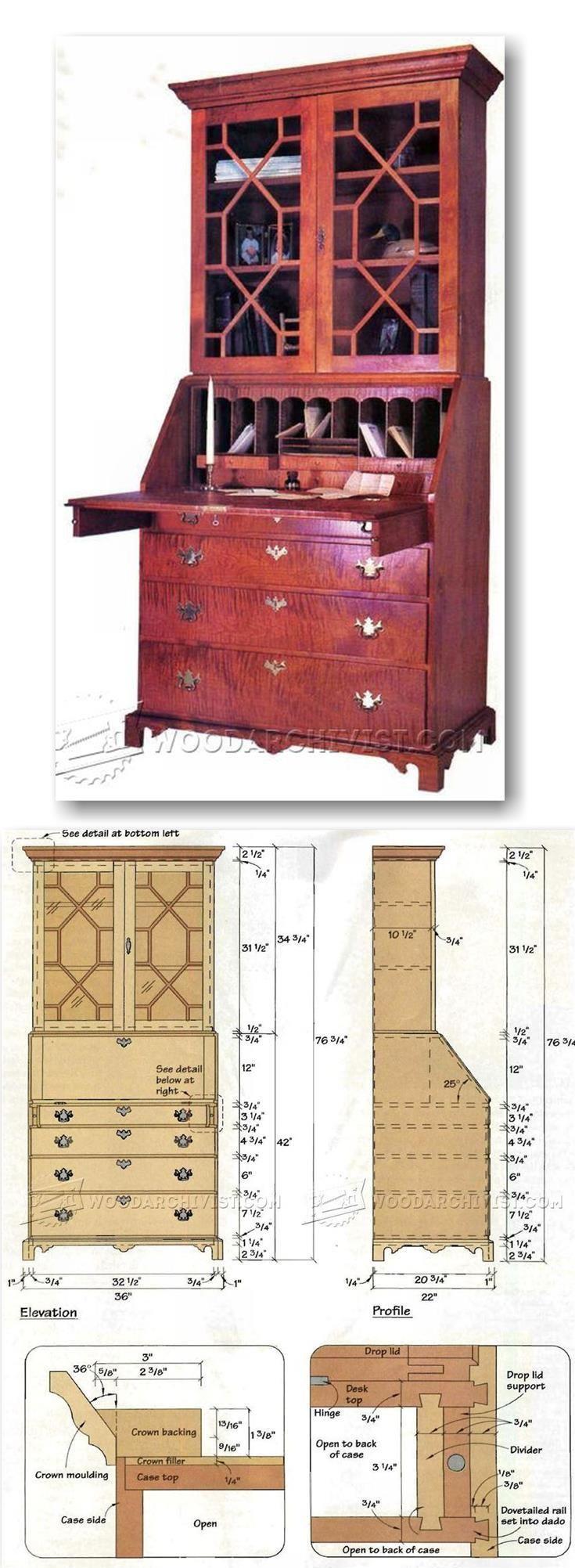 Chippendale Secretary Desk Plans - Furniture Plans and Projects | WoodArchivist.com