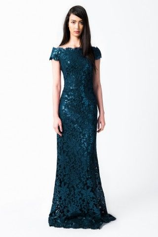 Tadashi Shoji Paillette Embroidered Lace Off Shoulder Gown in Starry Night, also in gold!