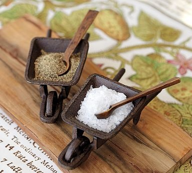 "Cast-Iron Wheelbarrow Salt Cellar ...  Made of cast iron with a mango wood spoon.  6"" long x 3"" wide x 2.5"" high.    How freakin' cute is that!!!"