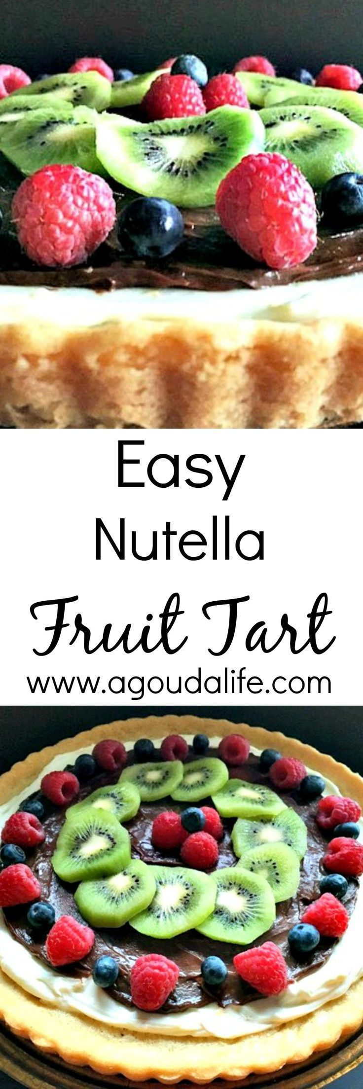 Easy Nutella Fruit Tart: sugar cookie dough crust topped with cheesecake type layer, Nutella and fruit of your choice.
