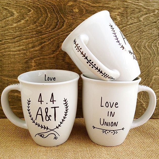 DIY Wedding Favor: Handmade Sharpie Mugs Tutorial #favors #wedding SHOP our coordinating hang tags and coasters: http://www.evermine.com/wedding_favor-tags/CQ/