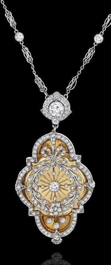 Edwardian gold, platinum and diamond pendant/watch