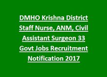 DMHO Krishna District Staff Nurse, ANM, Civil Assistant Surgeon 33 Govt Jobs Recruitment Notification 2017