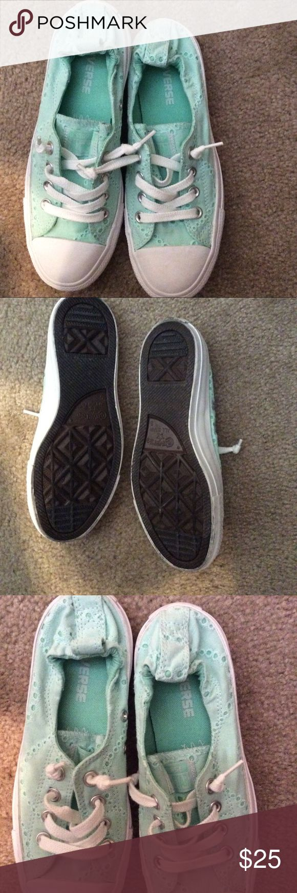Converse slip ons size 7 women's Beautiful light aqua color eyelet lace Converse. They slip on & don't require tying/untying. Size 7 women's shoe. Converse Shoes Sneakers