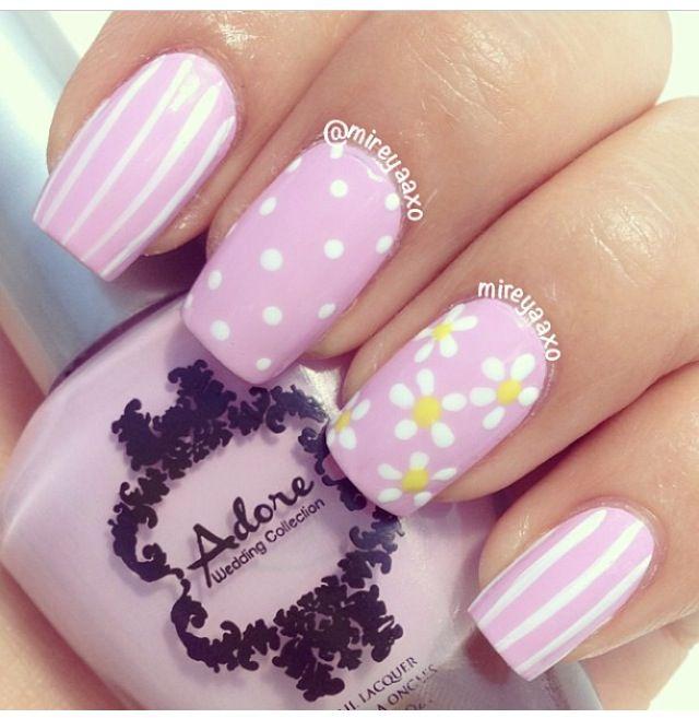 Pink poka dot nails