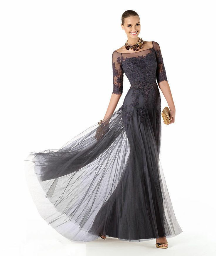 Half Sleeve Mother of The Bride Dress Lace Applique Wedding Guest Evening Dress