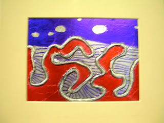 Fine Lines: Foil Relief with yarn on adhesive board 5 th grade