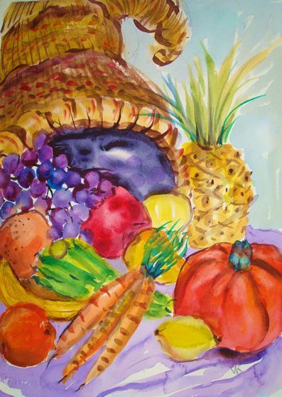 How to Paint a Cornucopia in Watercolor: 7 Steps
