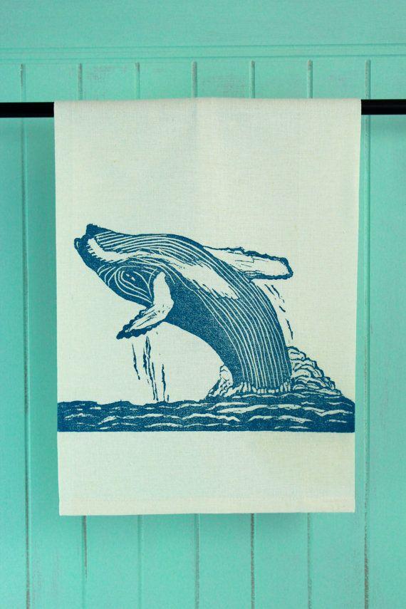Hump Back Whale Tea Towel, Block Printed in Blue #brindylinens #blockprint #teatowel #hemp #cotton #printed #treatyoself #newfoundland #whale