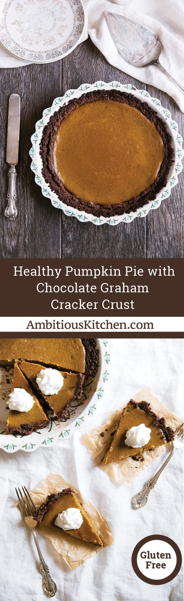 Healthy Pumpkin Pie with a gluten free chocolate graham cracker crust. Beautiful, velvet texture and full of pumpkin pie spices. #healthypumpkinpie #glutenfreepie #thanksgivingdessert #healthydessert #falldessertrecipe
