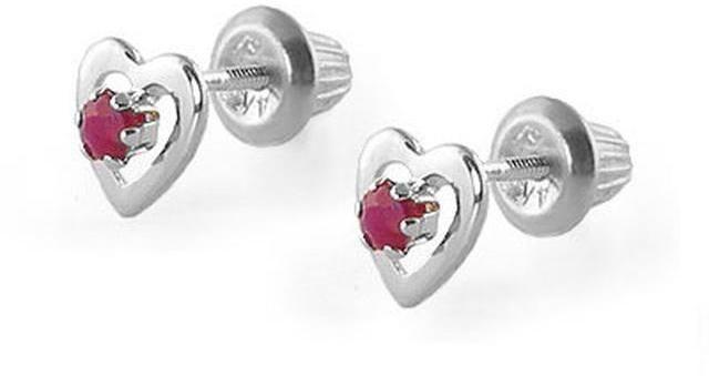 Ice Kids' 14K White Gold Ruby Heart Earrings For Girls