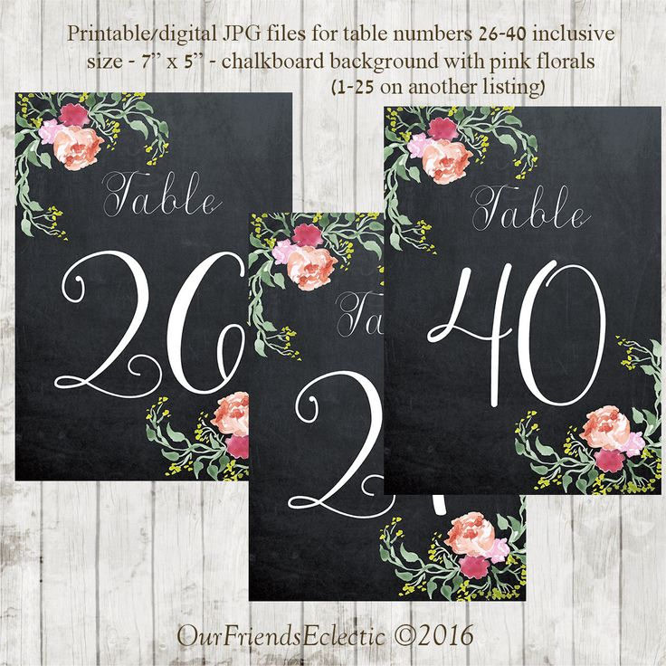 Printable chalkboard table numbers, wedding table numbers 26-40, floral table numbers, table numbers digital, table numbers 26-40, you print by OurFriendsEclectic on Etsy