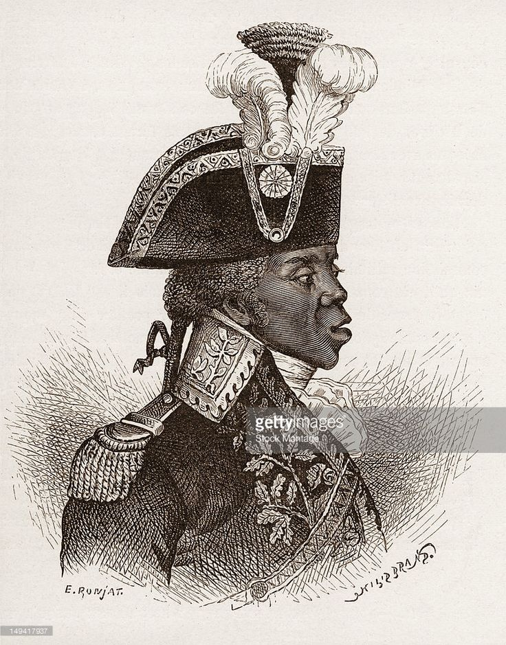 Wood engraving of Haitian military commander General Toussaint Louverture (Francois-Dominique Toussaint Louverture, 1743 - 1803), late 18th or early 19th century. He was the leader of the successful Haitian Revolution, a slave revolt that eventually resulted in the creation of the Republic of Haiti.