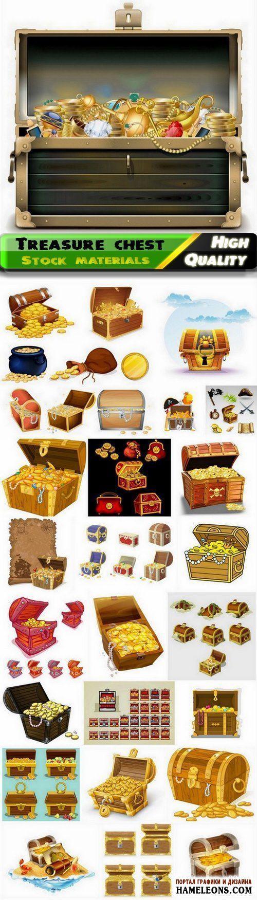 В векторе золотые монеты, клады пиратов, сундуки с сокровищами