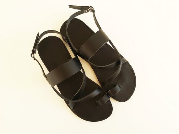 Women Leather Black Flat Sandals  Greek Sandals di Leatherhood