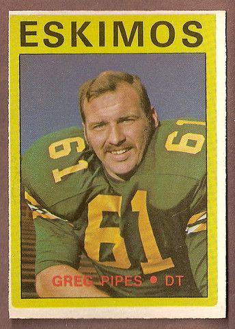 Greg Pipes CFL card 1972 O-Pee-Chee #92 Edmonton Eskimos Baylor Bears