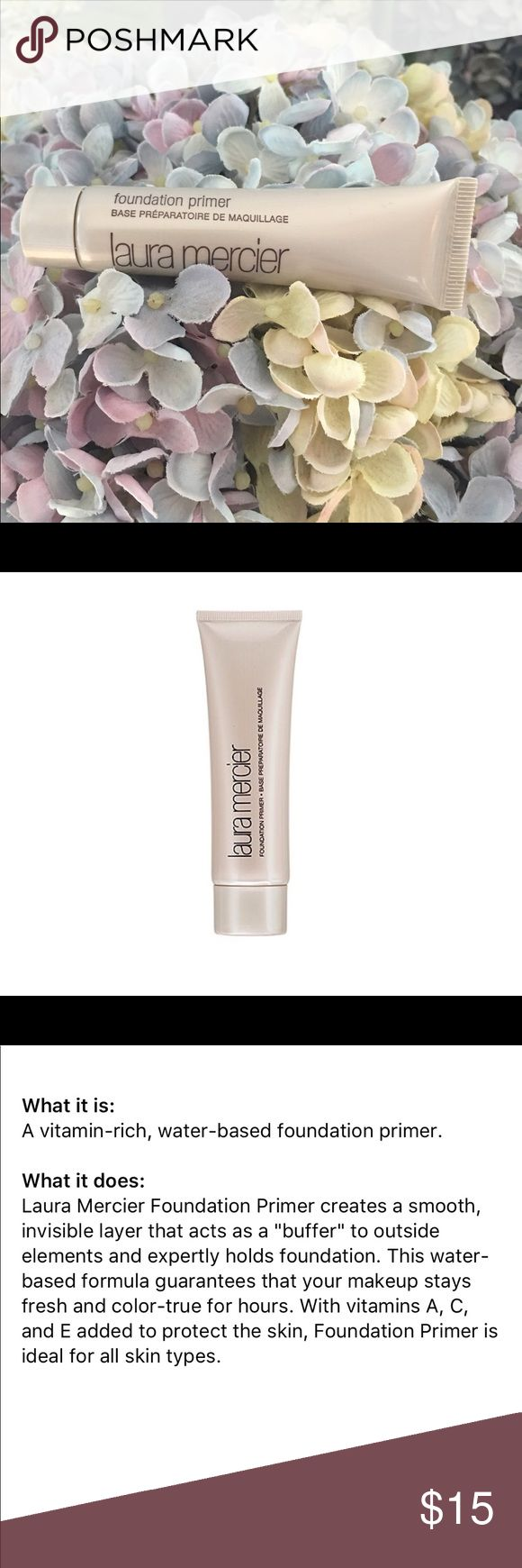 Laura Mercier Foundation Primer, Mini Laura Mercier was the first one to come out with a foundation primer. This is the original. It's a deluxe mini size. This will create a great canvas and extend the wear of your makeup. No trades. Bundle to save and Enjoy 😊 Sephora Makeup Face Primer