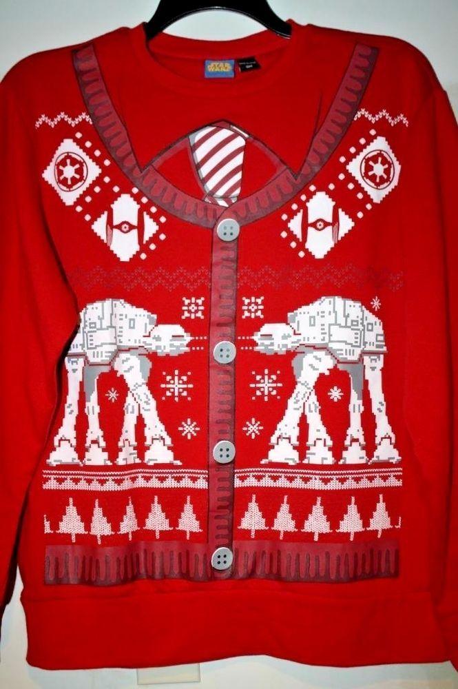 Star Wars Mens Ugly Christmas Sweater Sweatshirt AT-AT Imperial Walker NWT  #StarWars #SweatshirtCrew