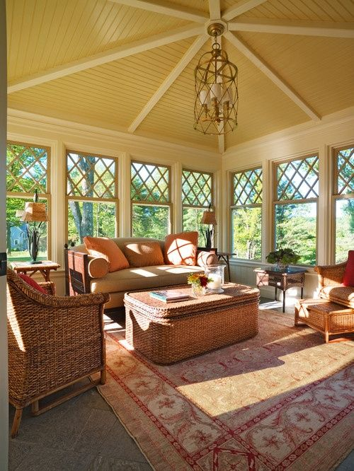 Make the back patio something more on the lines of an outdoor living/family room with windows all around like this and a really cool ceiling like this one.