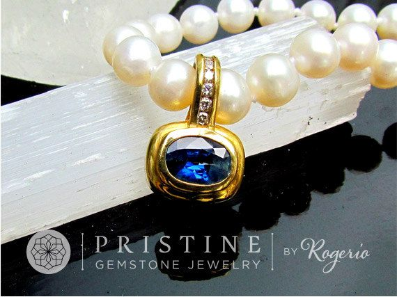 Ceylon Blue Sapphire Pendant SALE in 14k two by PristineJewelry