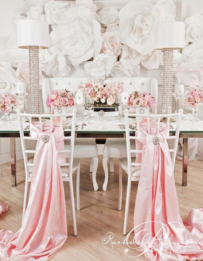 65 best pink wedding event decor images on pinterest for Decorating chairs for wedding reception