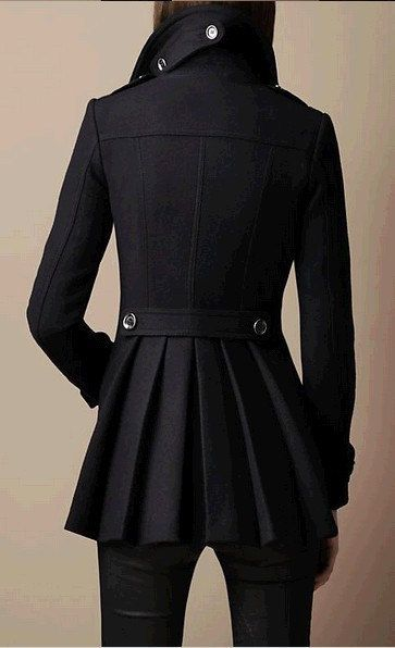 Women Black Coat  Double Breasted Button Hooded by colorfulday01, $79.99