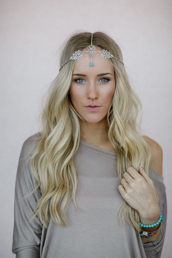 Silver Leaf Headpiece, Chain Headband, Turquoise Bead, Bohemian Chain Headband, Headpiece with Turquoise Bead and Silver Accent (HB-3738) on Etsy, $38.00