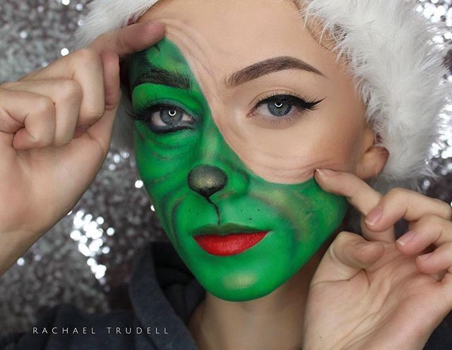 Grinch Costume Makeup🎄🎁 Products Used Mehronmakeup Green
