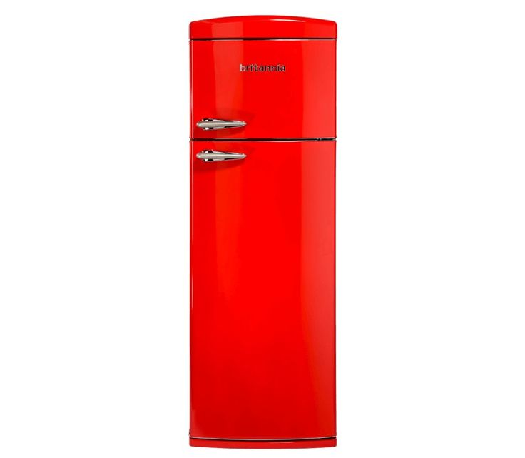 Britannia Breeze Retro Chilli Red Top Mount Fridge Freezer