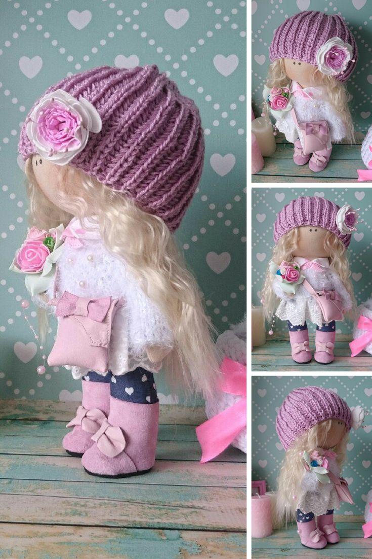 Rag doll Fabric doll Handmade doll Nursery doll Bambole di stoffa Tilda doll Muñecas Pink doll Cloth doll Baby doll Textile doll by Elvira